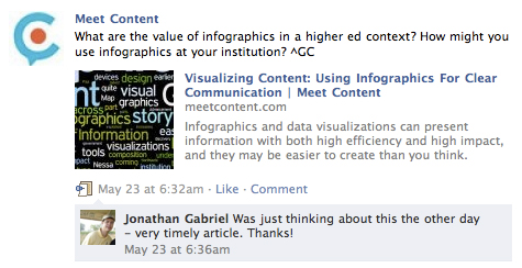 Example of Facebook user comments on a Meet Content post.