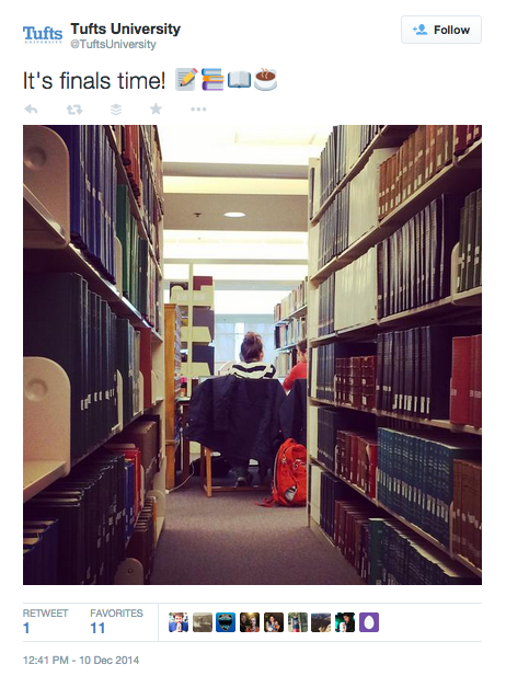 Tweet by Tufts University with photo of student in library