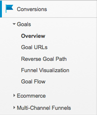 Google Analytics conversion menu screenshot