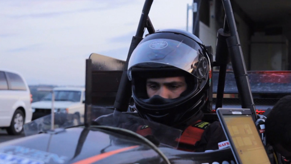 Student on Oregon State University's racing team