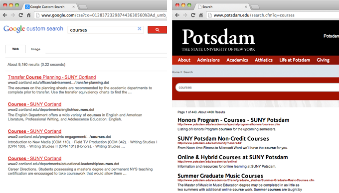 "Web search results for ""courses"" at SUNY Cortland and SUNY Potsdam in New York."