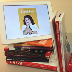 "Tina Fey's ""Bossypants"" with books content strategy books."