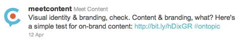 Example of how the Meet Content brand is conveyed on Twitter.